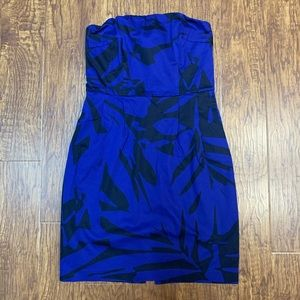 Express blue and black strapless dress size 8